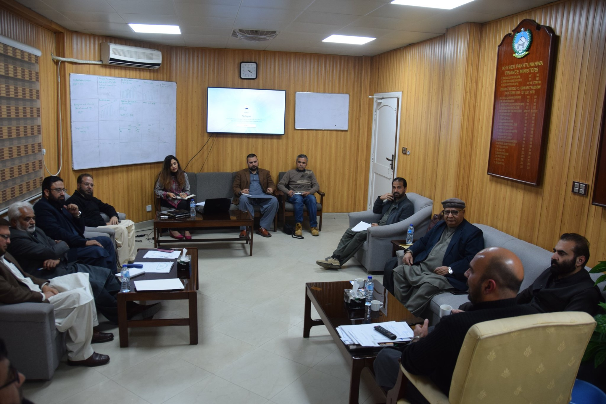 Weekly progress review meeting of KPRA being held in the office of Finance Minister