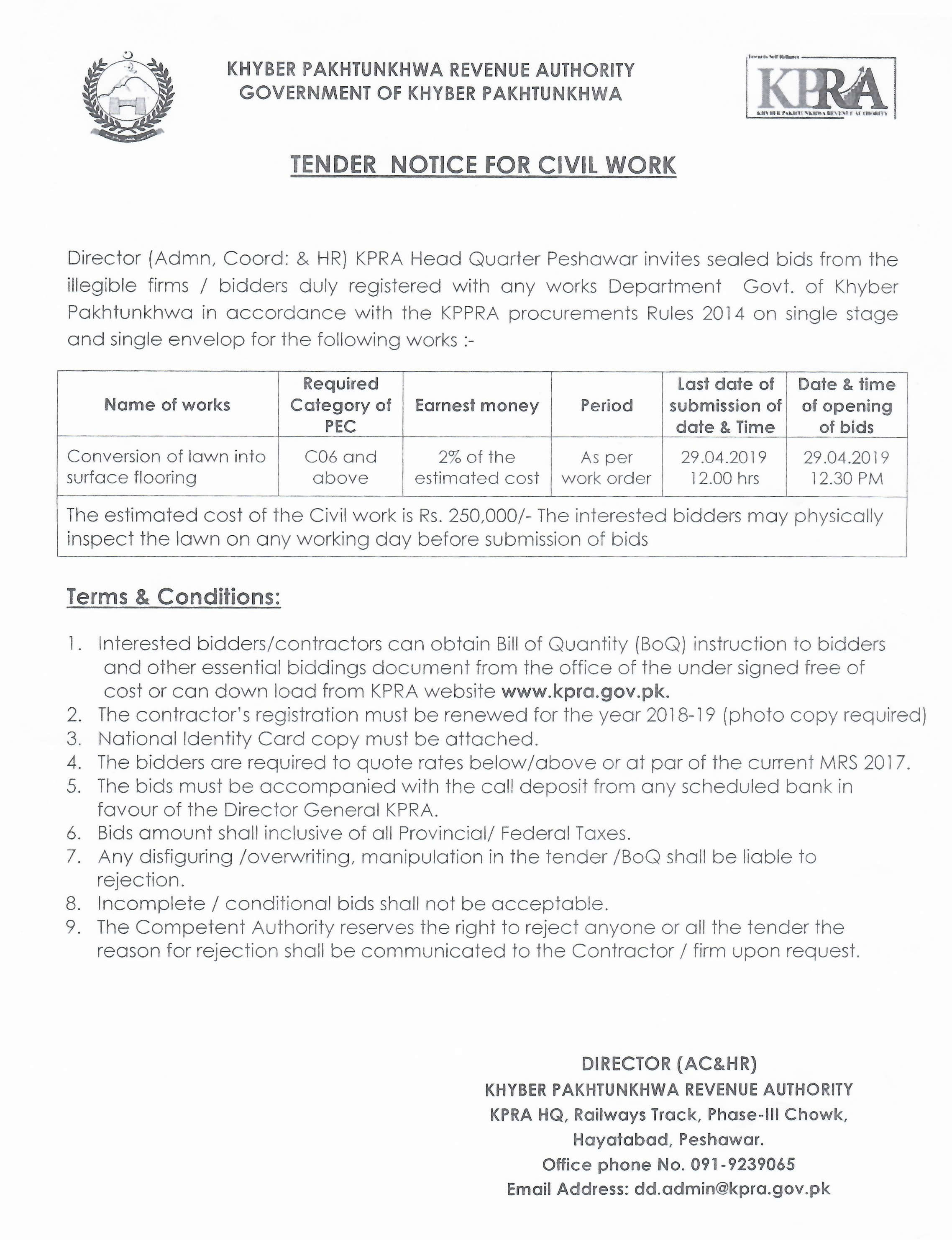 Tender Notice for Civil Work