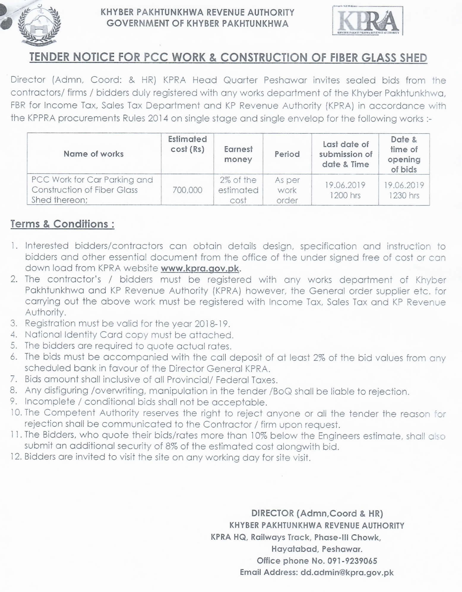 Tender Notice for PPC Work & Construction of Fiber Glass Shed