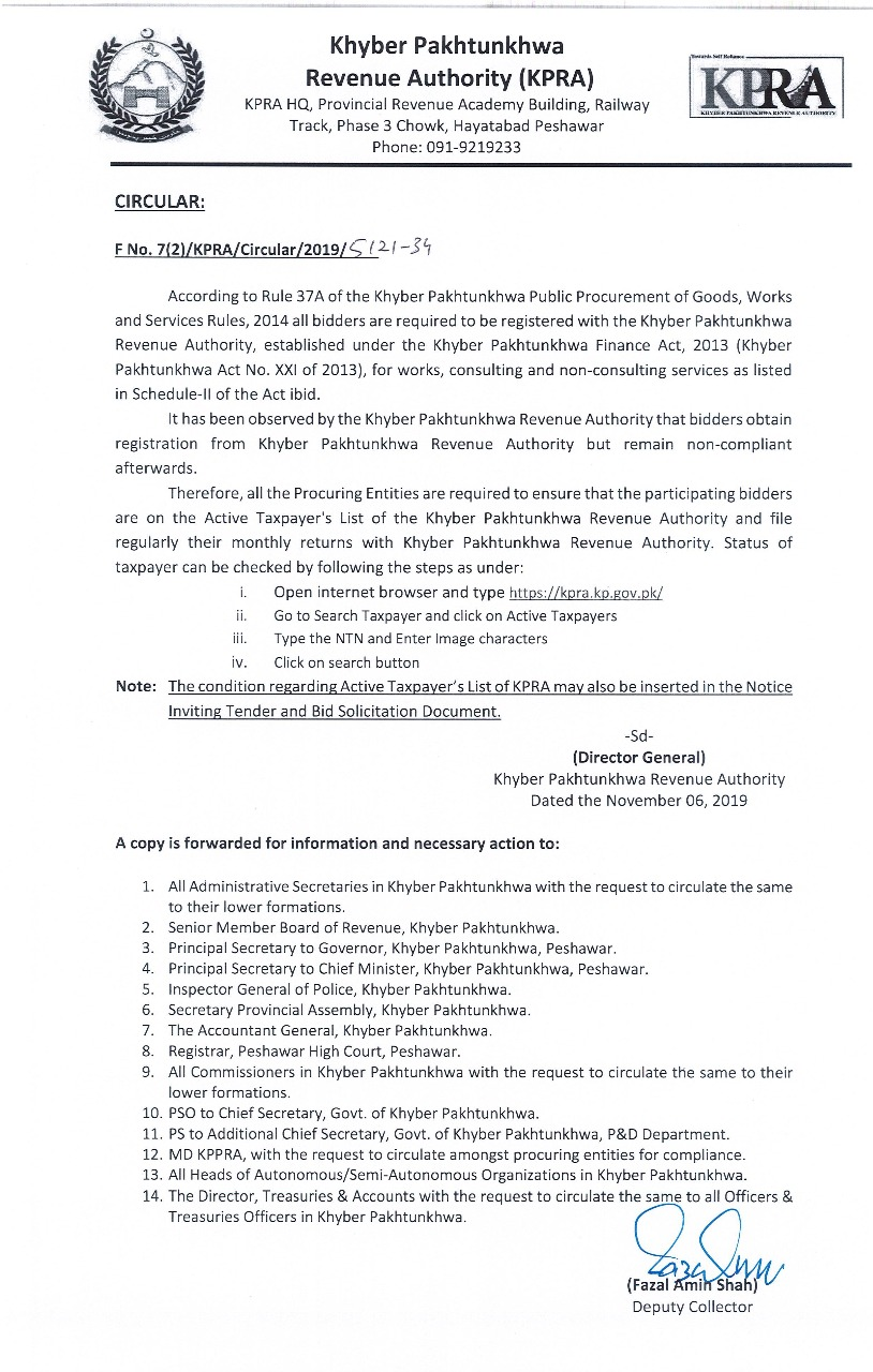 CIRCULAR: All bidders are required to be registered with Khyber Pakhtunkhwa Revenue Authority