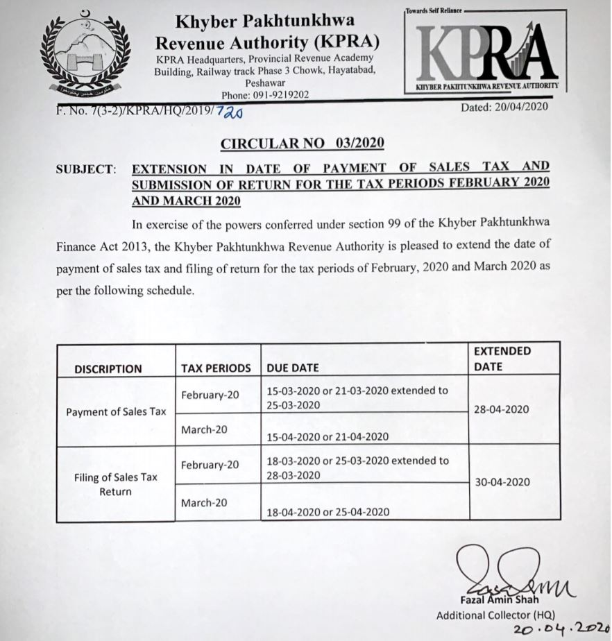 Extension in Date of Payment of Sales Tax and Submission of Return for the Tax Periods February & March 2020