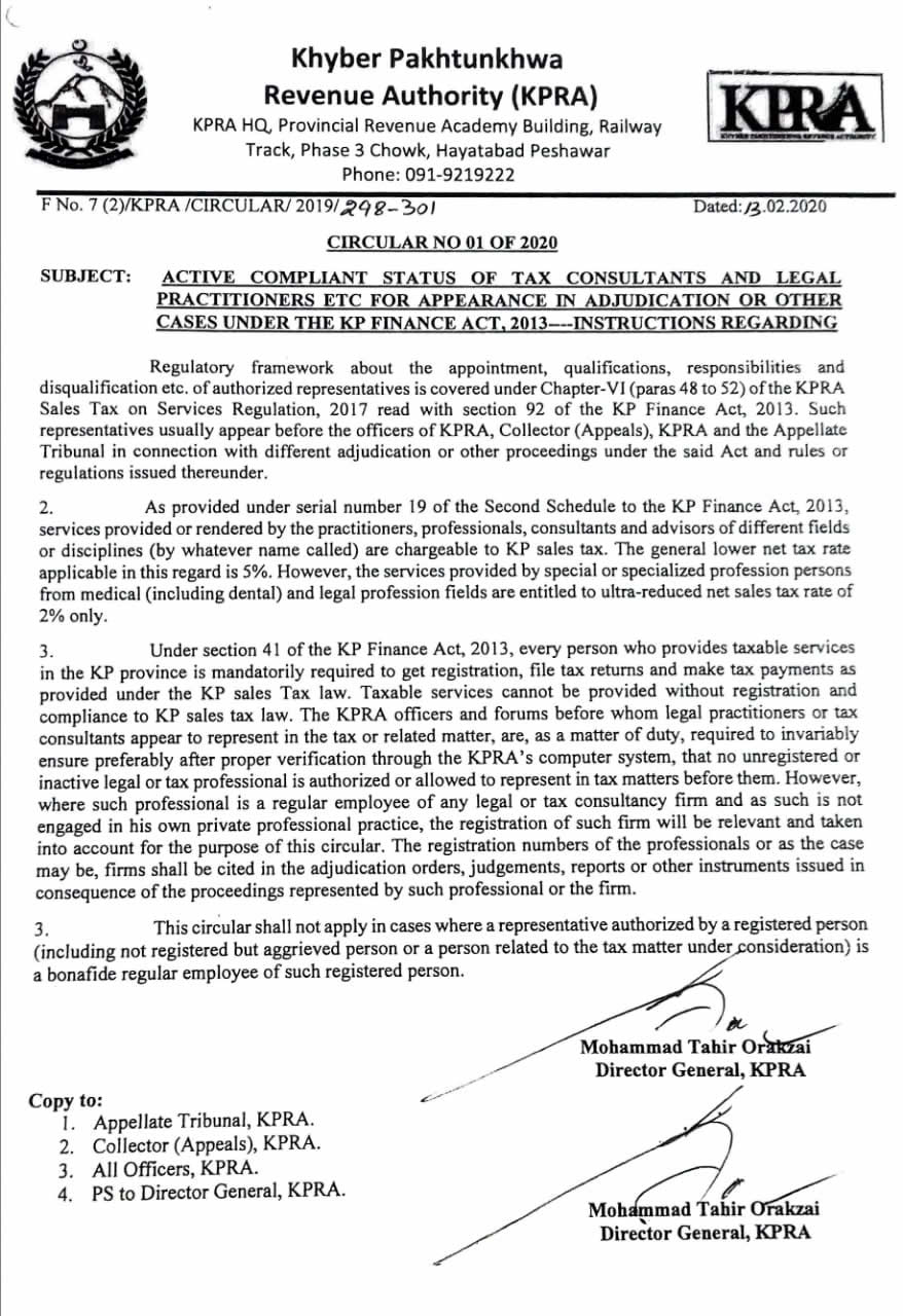 CIRCULAR: Active Compliant Status of Tax Consultants & Legal Practitioners etc for Appearance in Adjudication or other cases under the KP Finance Act, 2013--Instructions Regarding