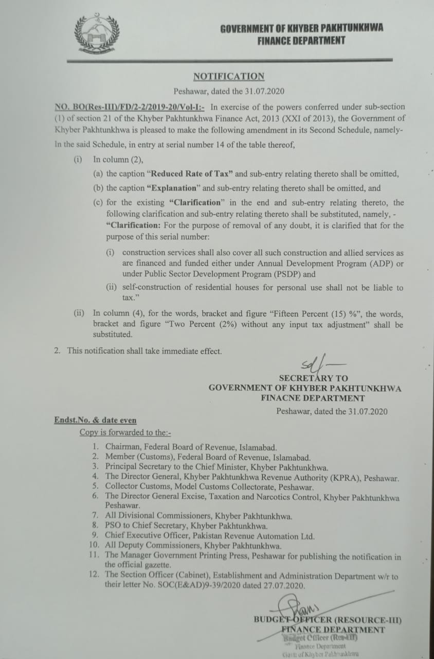 Notification of Amendments in SECOND SCHEDULE related to Construction Services