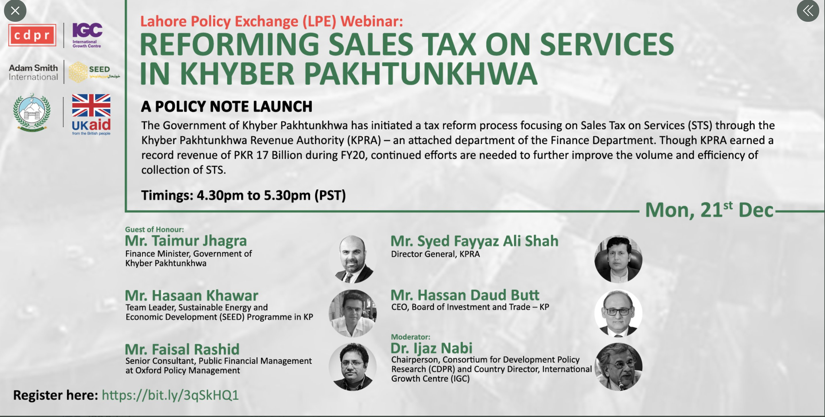 Webinar on Reforming Sales Tax on Services in Khyber Pakhtunkhwa