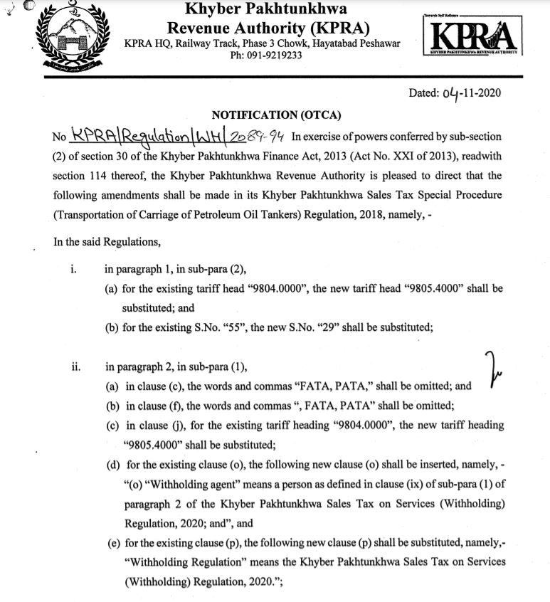 Amendments in Khyber Pakhtunkhwa Sales Tax Special Procedure (Transportation of Carriage of Petroleum Oil Tankers) Regulation, 2018
