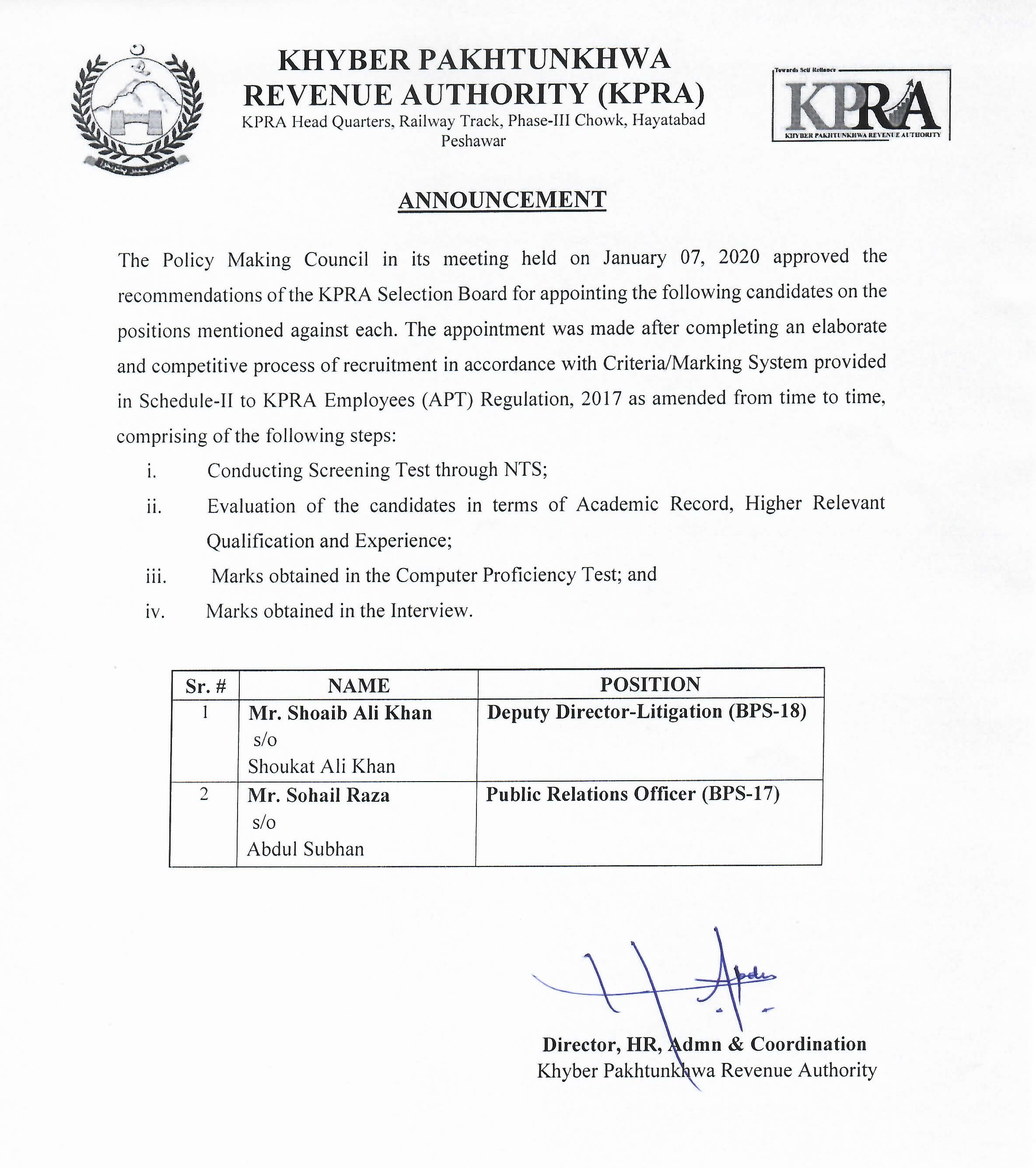 Announcement of Selected Candidates for various posts